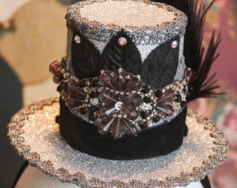 Glittery Silver With Black Accents Top Hat