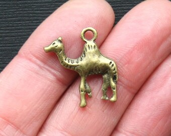 5 Camel Charms Antique Bronze Tone Two Sided - BC876