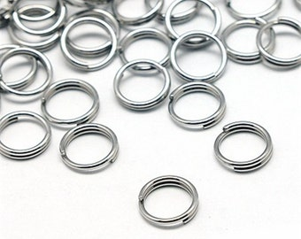 250 Split Rings Silver Plated 8MM High Quality - J43