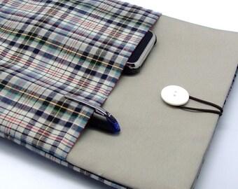 KI SALE iPadPad Air case 2, iPad cover, iPad sleeve/ Samsung Galaxy Tab 3 10.1with 2 pockets, Padded - Checks (B)
