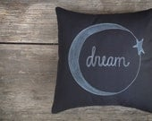 Moon and Star Pillow Cover, Child's Room Decor, Dream Pillow, Black and White Decor, Chalkboard Style Pillow MADE to ORDER mamableudesigns