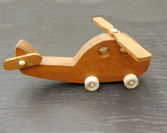 Wood Toy Helicopter Chopper Pull Toy Hand cut Scroll sawn