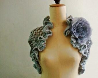 Pattern Lace Knit Shrug Bolero in 3 sizes with Chiffon Flower, 245