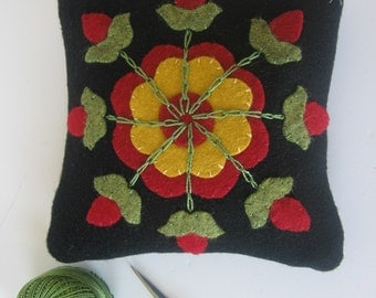 Primitive Wool Pincushion with Red Flower  Applique JKB