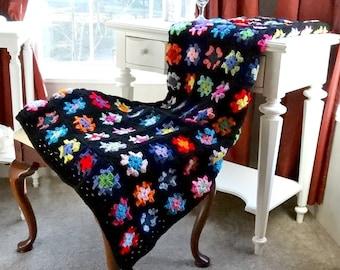 Granny Square Afghan, Crochet Blanket, Retro Fashion Throw, Crochet Folk Art
