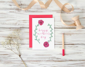 Blank Happy Mother's Day Card - Long Stemmed Flowers Hand-Illustrated