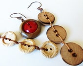 Natural Wood Vintage Button Earrings ON SALE