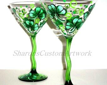 Hand Painted Martini Glasses 4 Leaf Clover Shamrocks St. Patrick's Day Handpainted Set of 2 -12 oz. Martini Glassware Green Stemmed Glasses