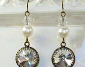 BRIDESMAID and BRIDAL EARRINGS Antique Brass with Clear Swarovski Crystals and White or Ivory Pearls