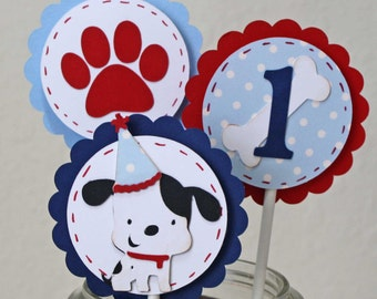 Dog Birthday Cupcake toppers - Puppy party, set of 12, age and color customized