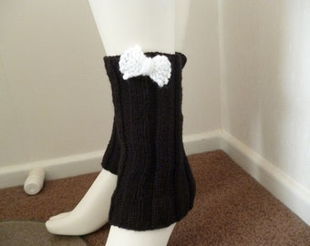 ON SALE / CLEARANCE - Leg Warmers, Knit spats, Ankle Warmers, Knit Boot Cover, Knit Leg Warmers, Black Ankle Warmers