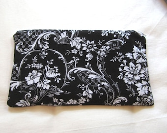 Elegant Black and White Flower Fabric  Zipper Pouch / Pencil Case / Make Up Bag / Gadget Pouch