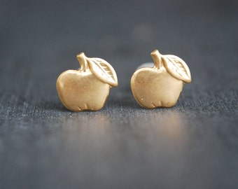 Apple Earrings, Golden Apple Stud Earrings, Fruit earrings