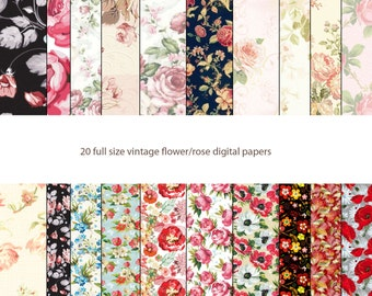 vintage rose flower floral digital papers scrapbook papers 12x12 300dpi commercial use ok INSTANT DOWNLOAD shabby chic