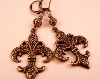 Brass Earrings Fleur de Lis Earrings Brass Jewelry Metal Jewelry Beaded Earrings New Orleans Saints Beaded Jewelry