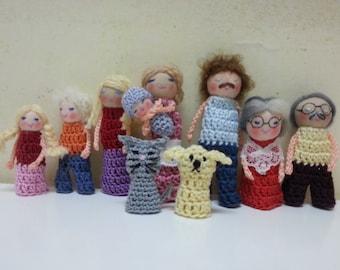 10 Character Family Finger Puppets, Custom Family Dolls Set