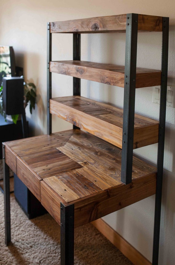 multi tiered pallet wood desk with drawer and shelves. Black Bedroom Furniture Sets. Home Design Ideas
