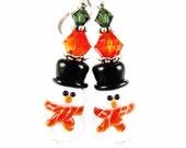 Snowman Earrings, Christmas Earrings, Glass Bead Earrings, Orange Red Lampwork Earrings, Christmas Jewelry, Lampwork Jewelry, White Earrings