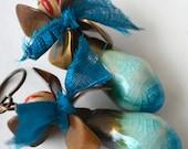 Frilly Earrings, Aqua Art Bead, Blue Silk, Flower Petal Cap, Whimsical Earrings