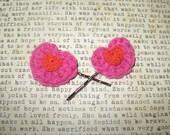 Crochet Heart Bobby Pins Hair Pins
