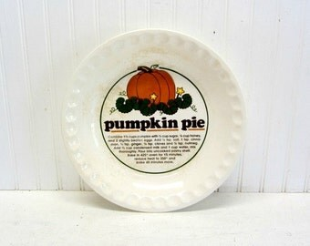 Vintage Ironstone Type Pumpkin Pie Recipe Plate