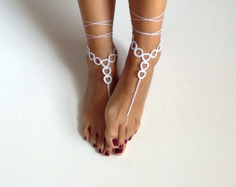 Barefoot Sandals, white,  wedding, Bikini, Women, Beach, Bridal Shoes, Bridal Sandals, Bridal Jewelry, shoes, READY TO SHIP