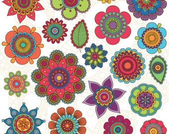 Hand Drawn Flowers Clipart Clip Art, Doodle Mandala Clip Art Clipart Vectors - Commercial and Personal Use