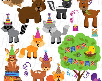 Birthday Party Animals Clipart Clip Art, Forest Woodland Animals Clipart Clip Art Vectors for Invitations - Commercial and Personal Use