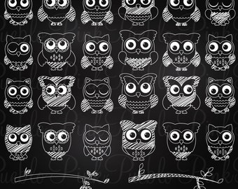 Chalkboard Owl Clipart Clip Art, Chalk Owl Branches Clipart Clip Art Vectors - Commercial Use