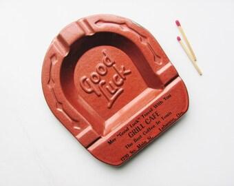 Ashtray Horseshoe Advertising Grill Cafe Lebanon Oregon Man Cave Tobacciana Painted Medal