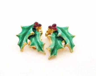 Holly Earrings- Clip Earrings- 1960 Earrings- Enamel Earrings- Rhinestone Earrings- Christmas Earrings- Holiday Earrings-Holly Berry Earring