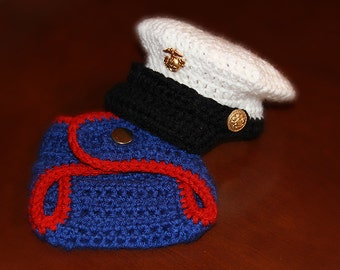 Baby Marine Corps Hat and Diaper Cover set, Baby US Marine Hat and Diaper Cover set, Newborn Marines Set, Newborn PHOTO PROP