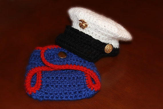 Crochet Baby Marine Hat Pattern : Baby Marine Corps Hat and Diaper Cover set by ...