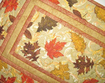 Autumn Table Runner, leaves. quilted, handmade, elegant, table topper, Door Hanger, Wall art