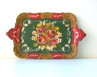 Vintage Italian Florentine Wood Small Serving Tray,Home Decor