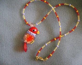Adorable Lampwork Parrot Necklace