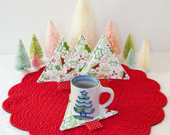 Christmas Tree Fabric Coasters Quilted Mug Rugs Holly Set of 4