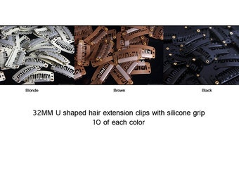 30 mixed hair clips hair extension clips wig clips 32mm Ushape bulk extension snap clips supplies extension clips blonde brown black