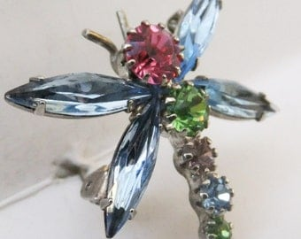 Vintage jewelry Julianna style dragon fly pink blue green rainbow brooch