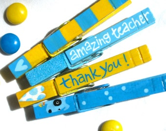 FAVORITE TEACHER CLOTHESPINS hand painted magnetic blue and yellow