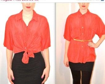 90s Vintage Red Silk Shirt Size Medium Large Vintage Silk Shirt Top Blouse Button Down Red