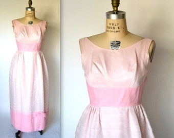 60s Vintage Prom Dress in Pink Blush Size Small Vintage 60s Bridesmaid Dress Dead Stock// Vintage Prom Dress in Pink