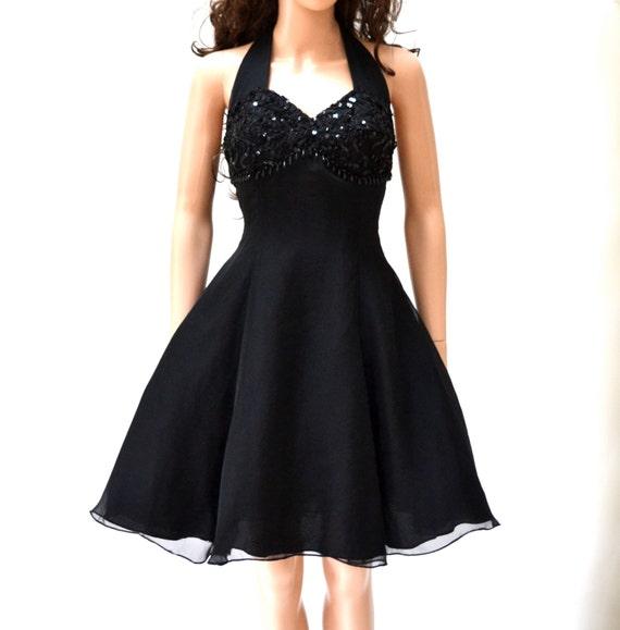 90s does 50s Vintage Prom Dress with Halter Dress Crinoline