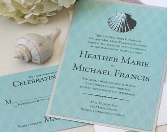 Vintage Sea Shell Wedding Invitation, Beach Wedding Invitation, SAMPLE