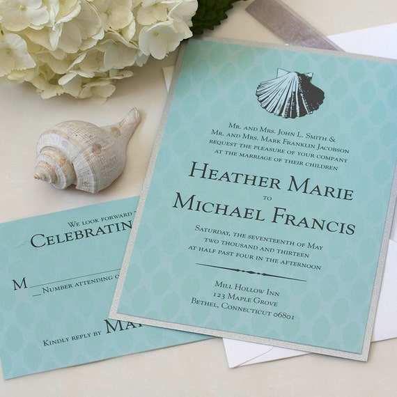 Vintage Sea Shell Wedding Invitation, Beach Wedding Invitation, DEPOSIT