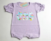 Ready to Ship  Girls First Birthday Romper Rainbow One Piece 1st Birthday Purple Pink Blue Short Sleeved Knit Bubble Romper 18m