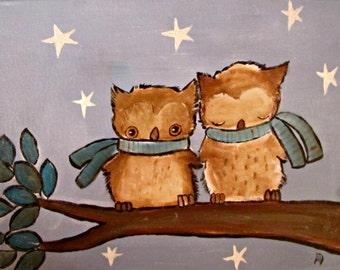 Owl and Stars Art Print, Kids Wall Art Nursery Decor, Cute Woodland Baby Room Decoration
