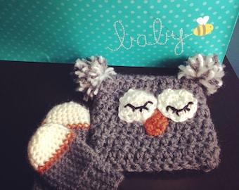 Sleepy Owl Hat & Mittens (thumbless)