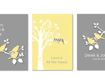 "Blended Family Gift Blended Family Wedding Personalized Custom Love Birds Family Tree Bird on Branch - Set of three 5""x7"" You Choose Colors"