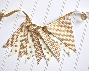 READY TO SHIP!! Gold and Cream Fabric Banner, Bunting, Decoration